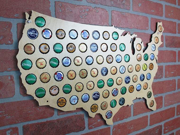 A giant wooden map for showing off your favorite regional beers