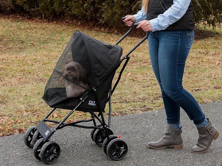 This luxurious pet stroller