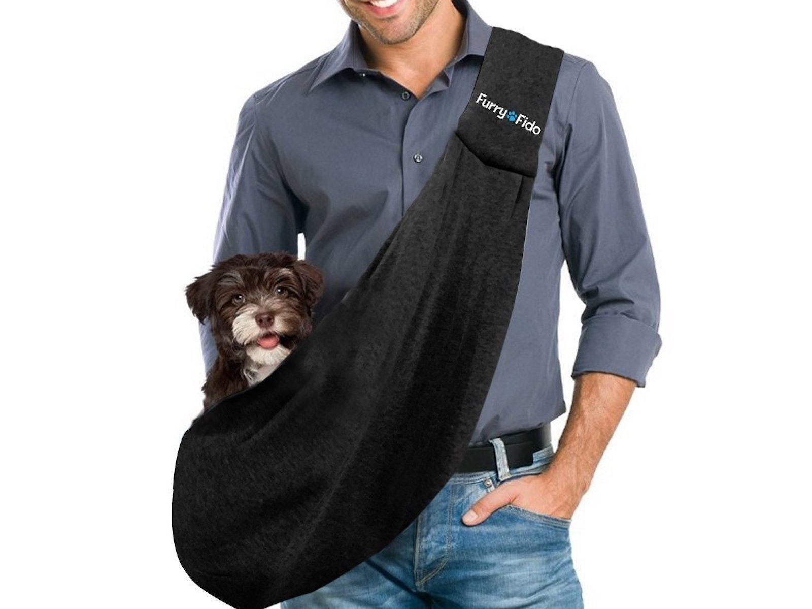 This hipster dog sling