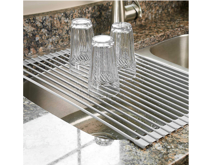 This dish rack that saves you a TON of counter space