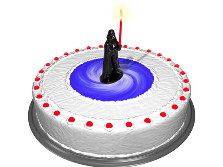 This Darth Vader birthday candle