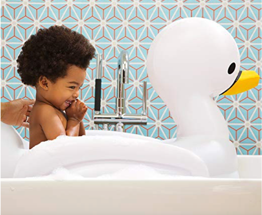 This sweet, inflatable swan for bathtime