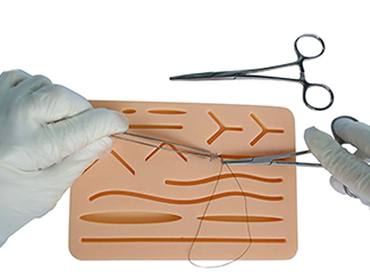 This rubber skin to practice your stitching skills