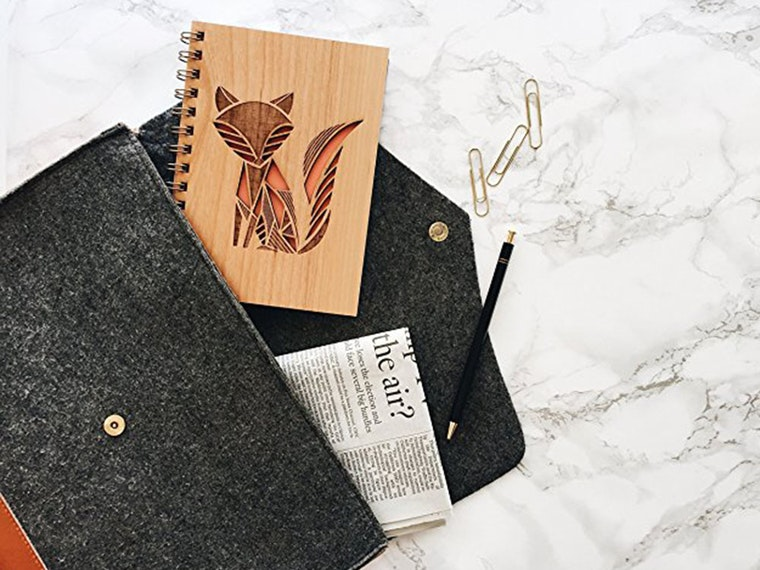 This wood-covered journal for fox lovers