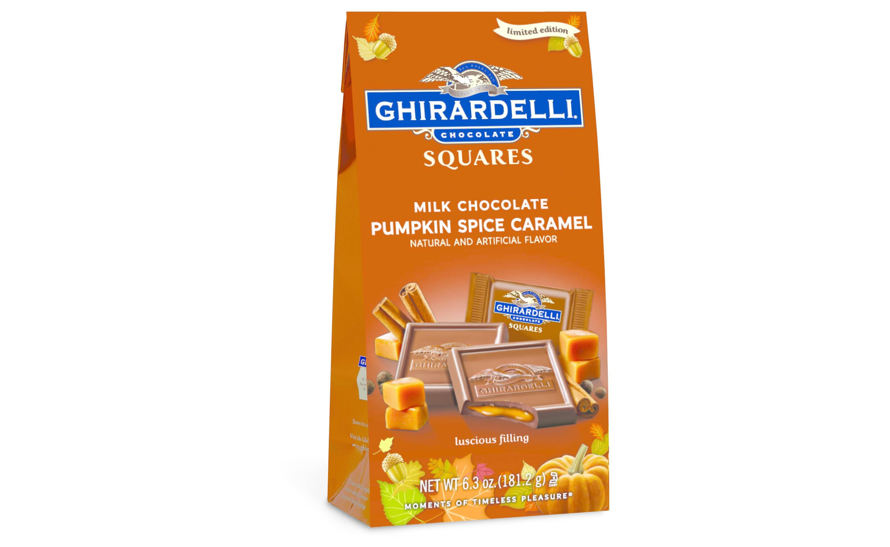 These pumpkin spice Ghirardelli chocolates with a sweet secret inside