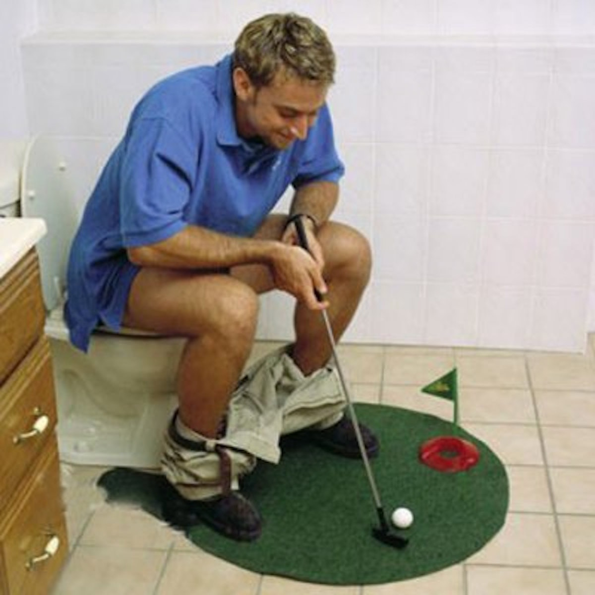 A practice putter for the potty