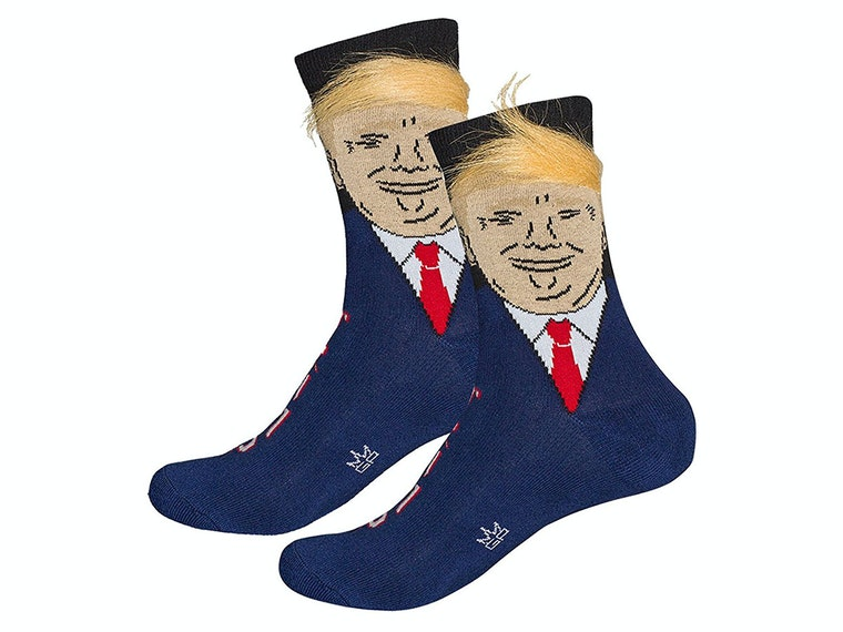 These wispy, combed-over socks to make your feet great again