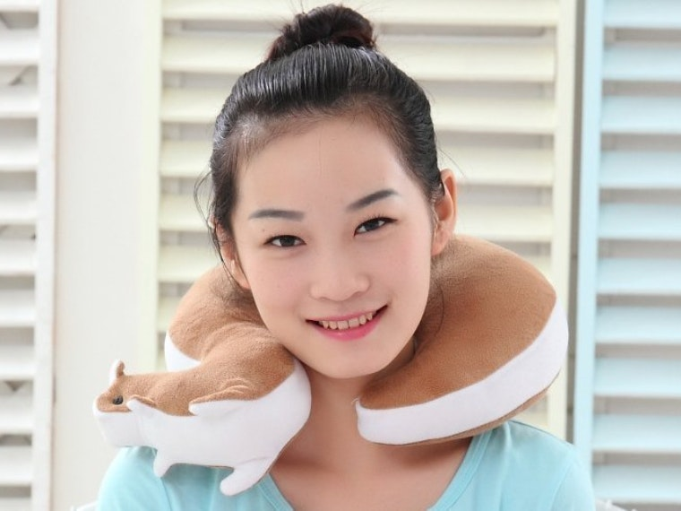 This travel pillow will keep you from feeling squirrelly