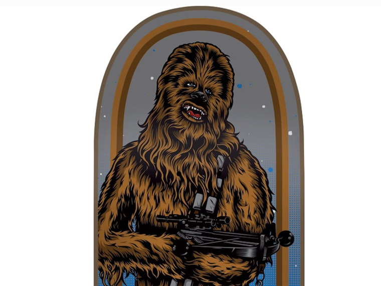 A Chewbacca skateboard deck