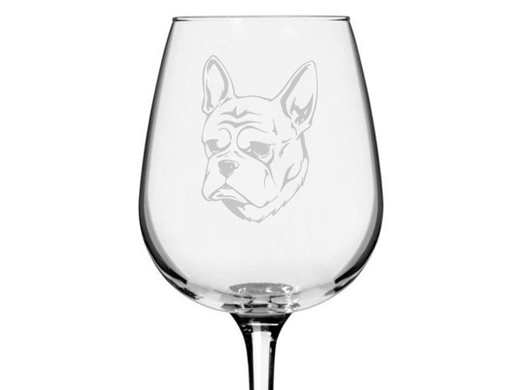 A bulldogwine glass that makes you smile while you sip