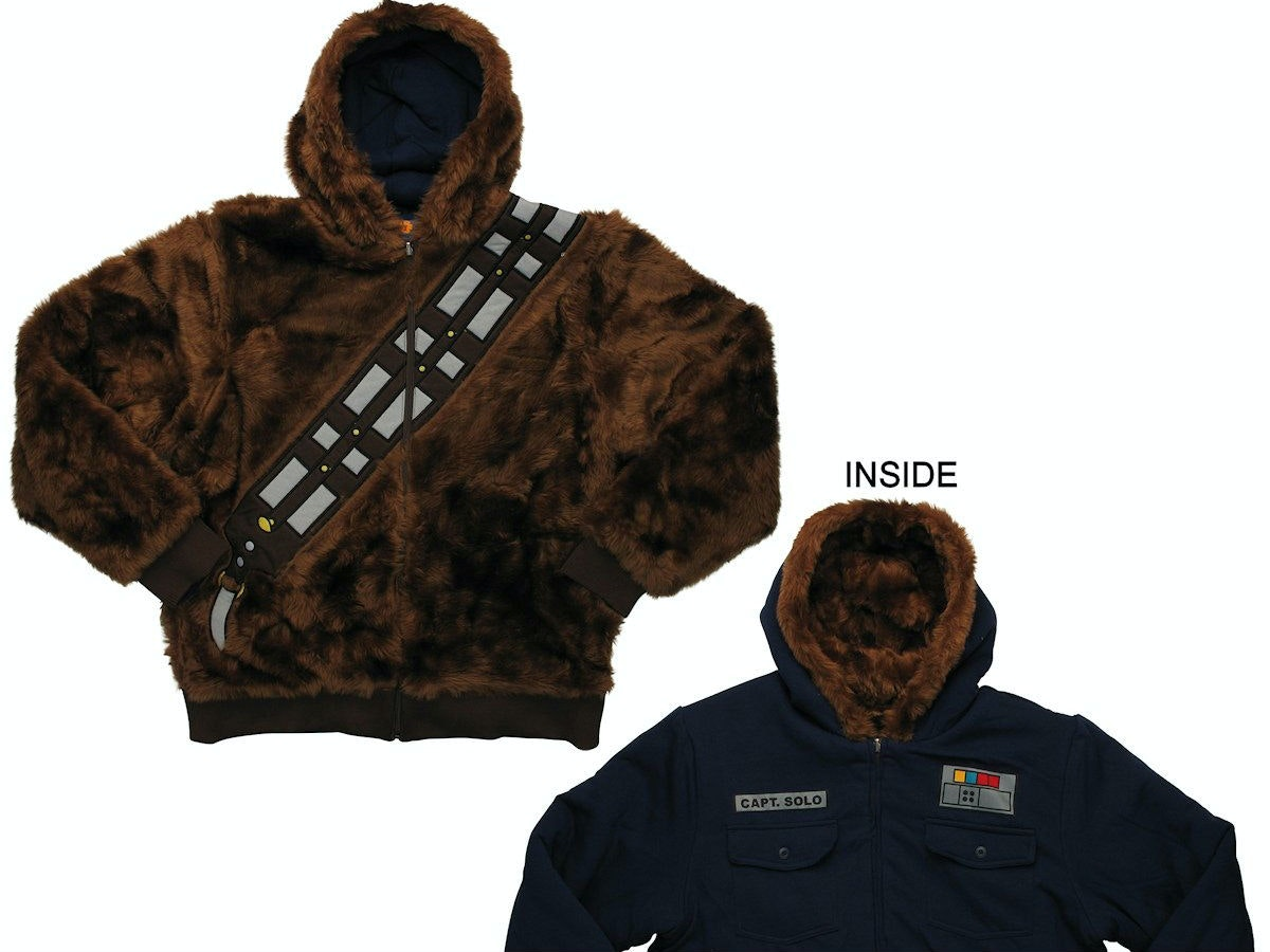 This hoodie that turns you into both Han Solo AND Chewie