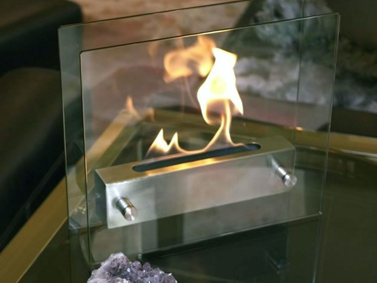 This cozy and ultraportable mini fireplace