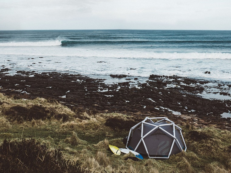 This inflatable geodesic dome tent that keeps you safe in wild weather