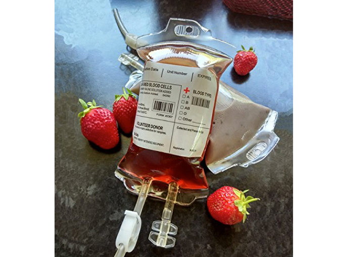 Blood bags you're supposed to drink from