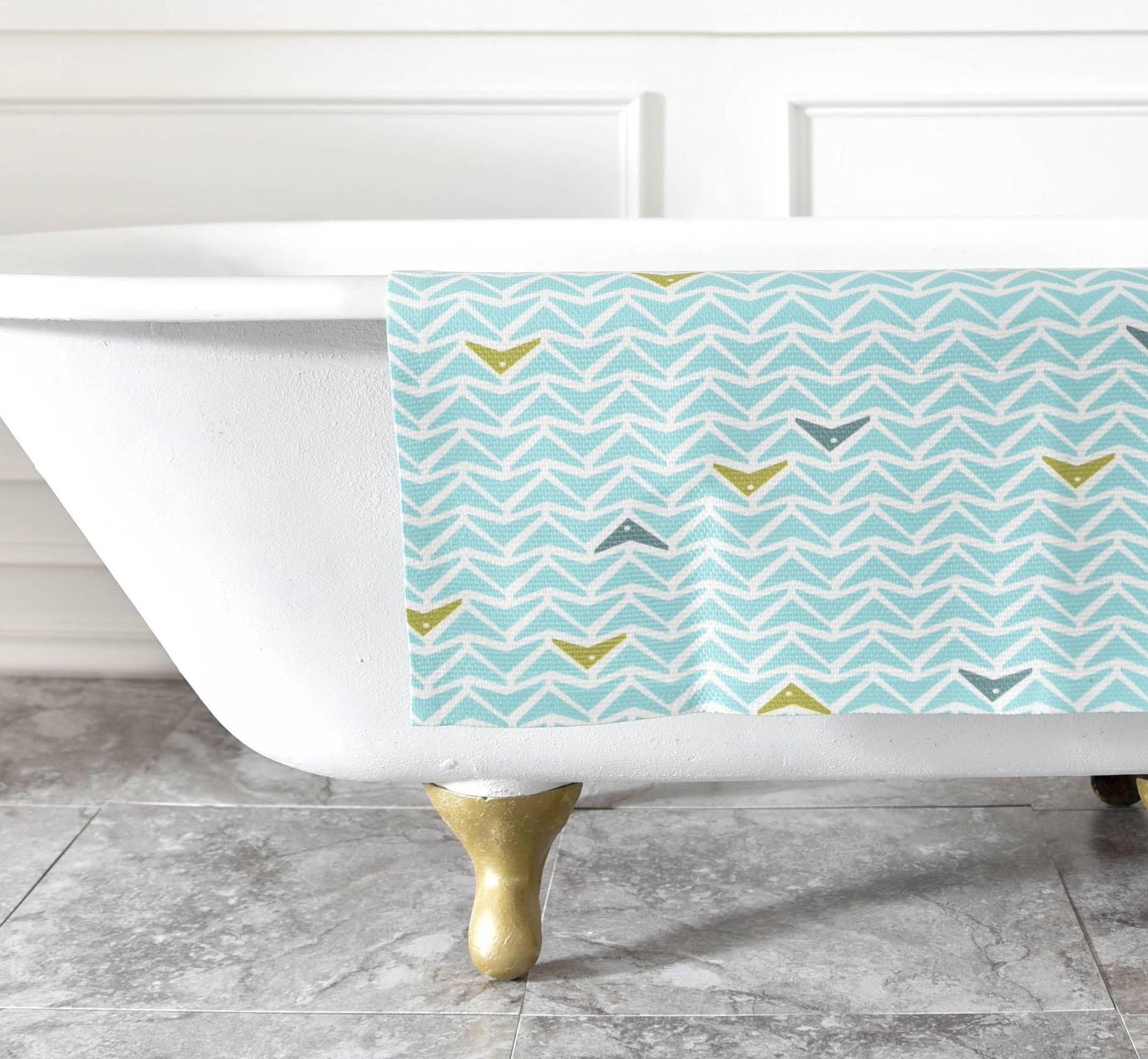 This bright decorative bathroom rug