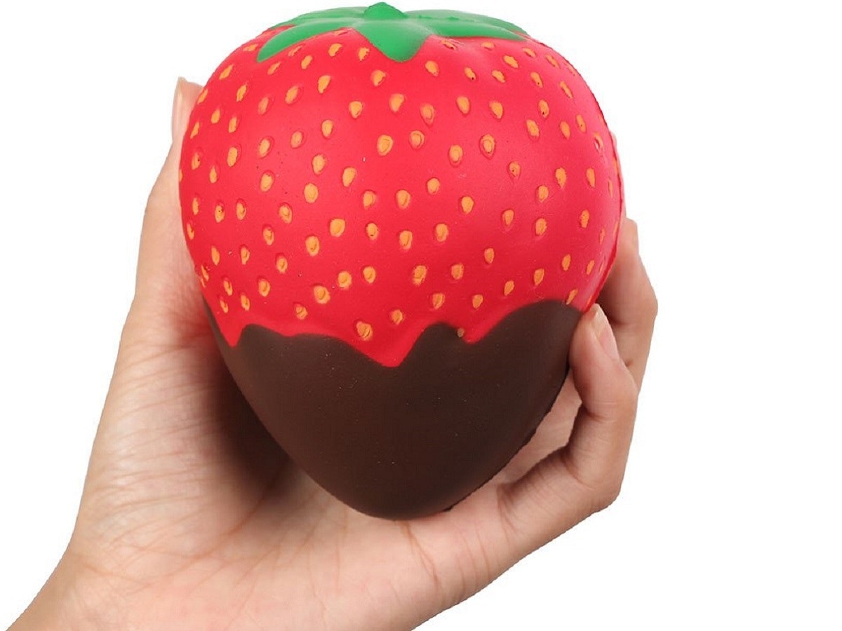 A chocolate-covered strawberry squishy toy for your stressed-out sweetheart