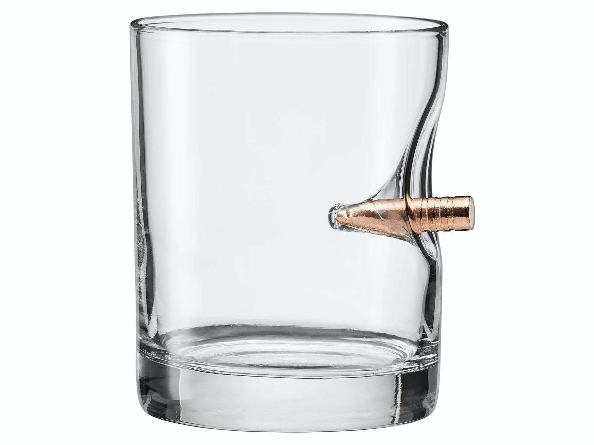 This glass with a bullet cutting through it