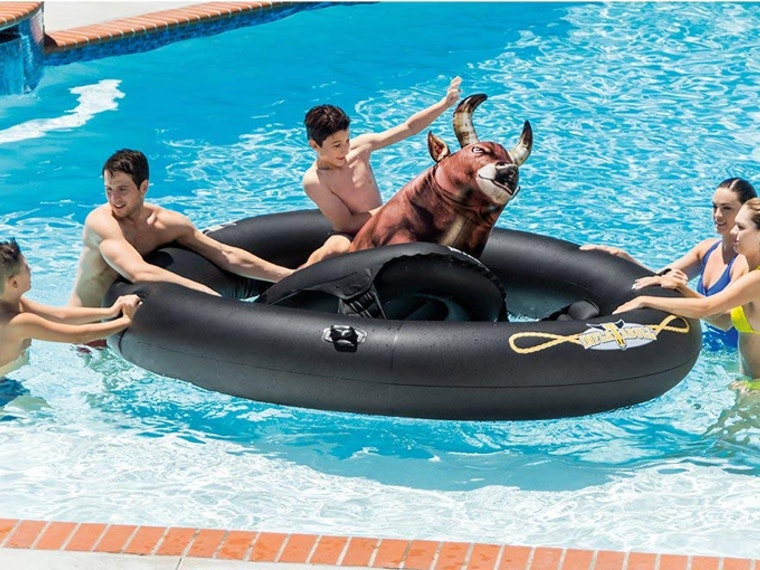 This inflatable bucking bull that turns your pool into a rodeo