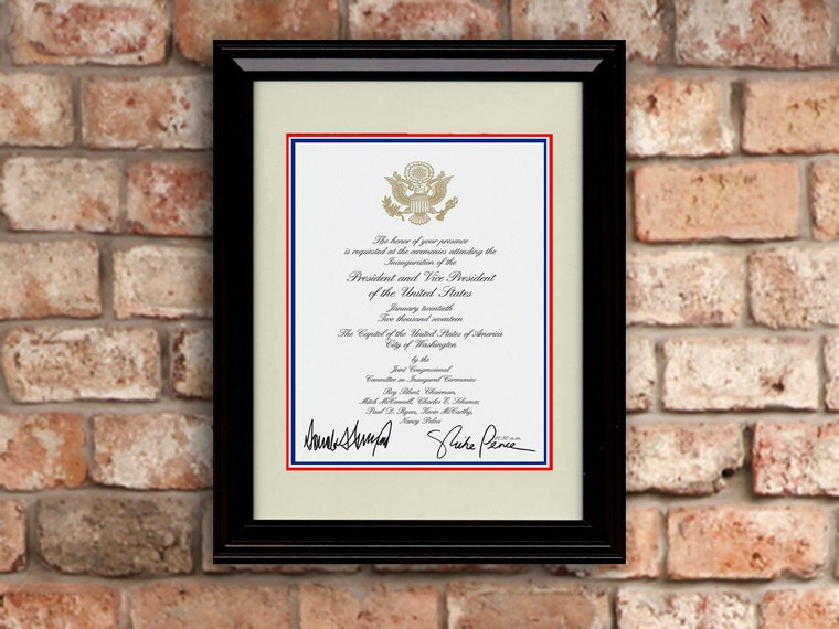 This framed inaugural invite replica for decorating the wall