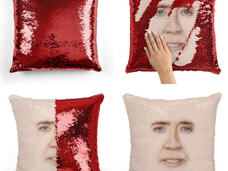 This pillow that's hiding a Cage-y secret