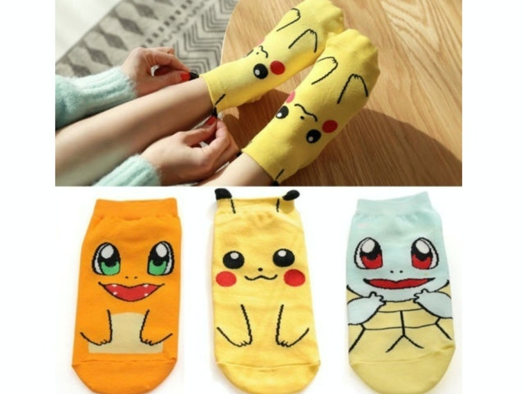 These comfy kid-size socks for the next great Pokemon Master-in-training