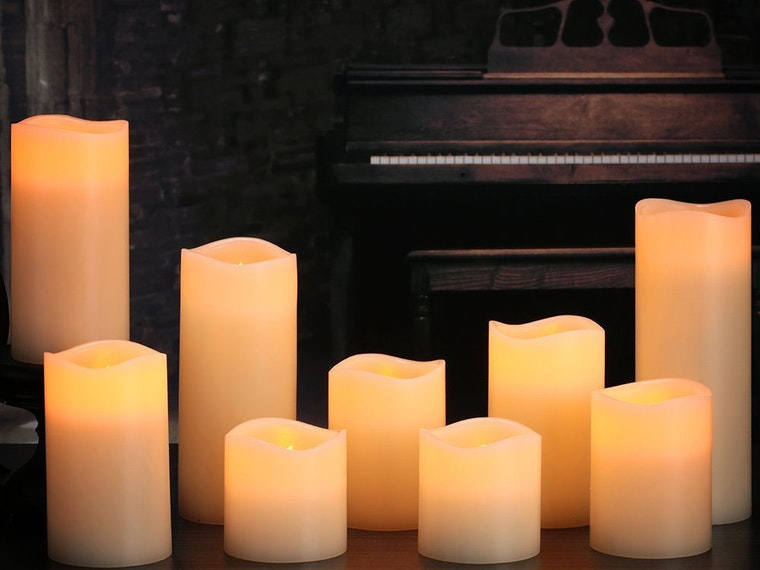Add some ambience to your fireplace with remote-controlled candles