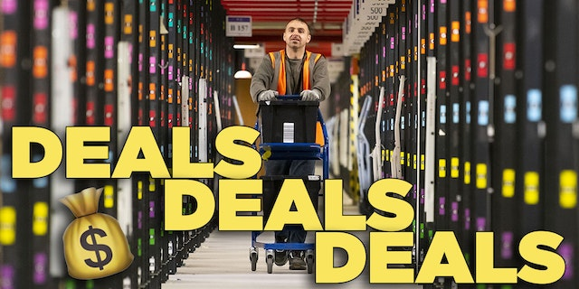 Dude pushing a cart an Amazon Fulfillment Center for Amazon Prime Day