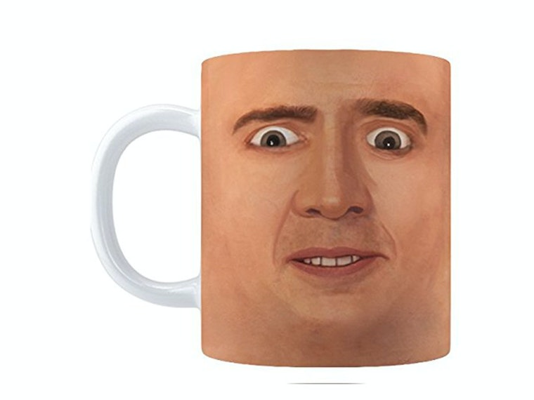 This creepy Nic Cage mug for really intense mornings