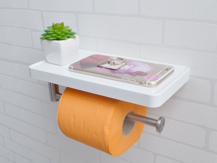 This super modern toilet paper shelf