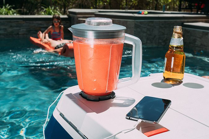 This insane cooler that charges your phone and makes drinks, too