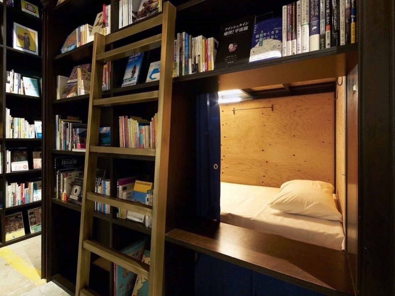 This Japanese library you can actually rent a bed in
