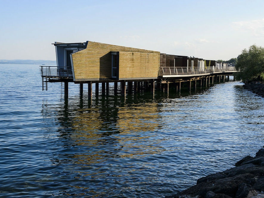 This Swiss hotel getaway located on its own a dock
