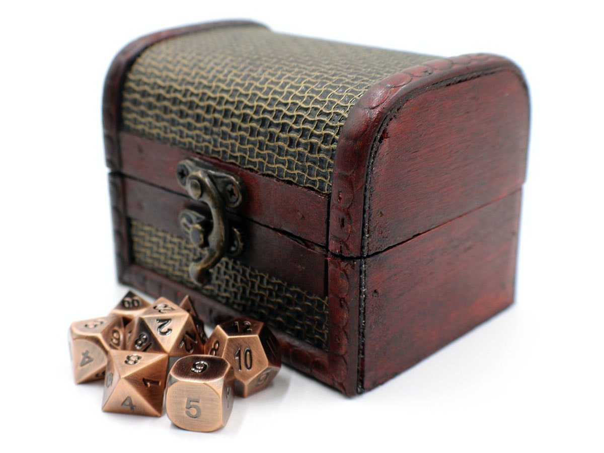 This treasure chest filled with metal dice