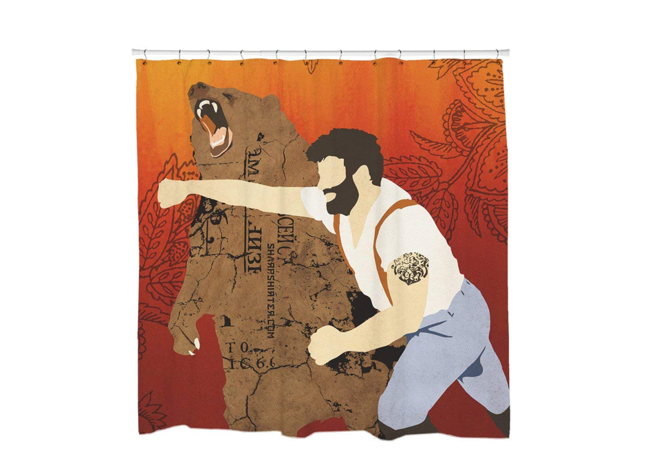 This most epic battle, memorialized on a shower curtain🐻