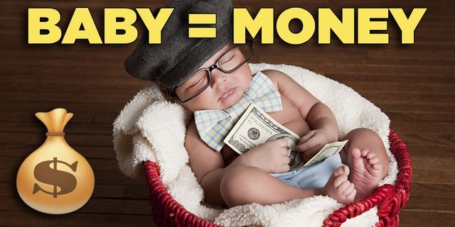 Baby in a basket holding a $100 bill