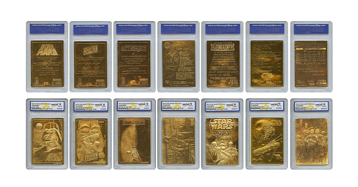 These golden trading cards
