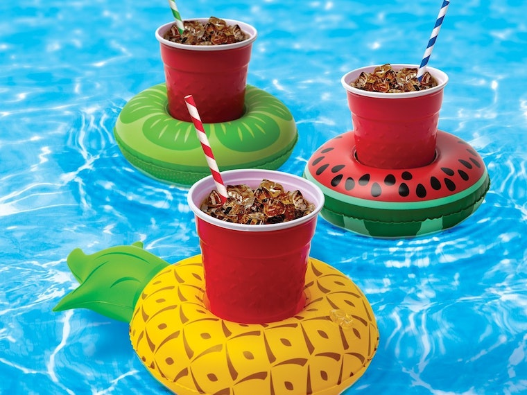 Thesecolorfulfloats for holding everyone'smargaritas