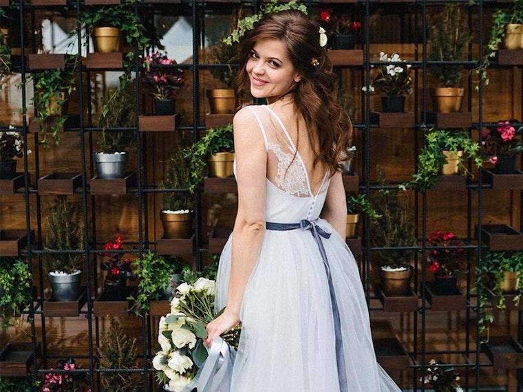 A custom wedding dress