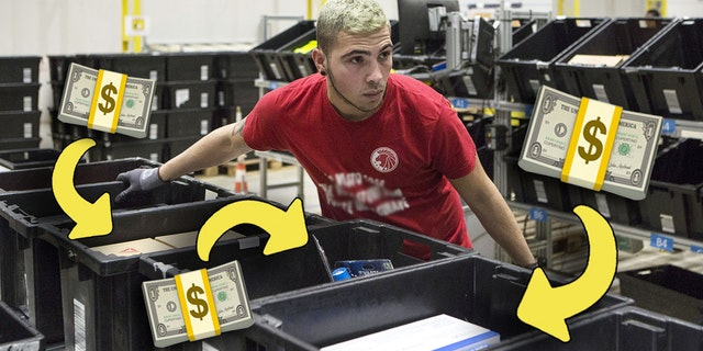 Amazon packer in a fulfillment facility, with a bunch of ARROWS and CASH EMOJI cause you're saving tons of cash on Prime Day. Get it?