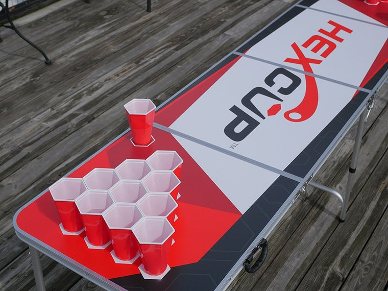 A next-level beer pong setup that weirdly satisfies your OCD