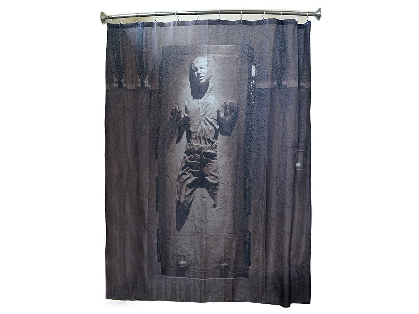 This iconic carbonite shower curtain