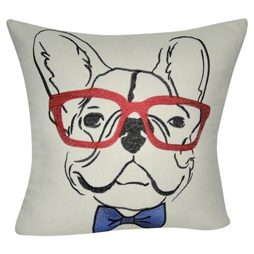 A pillow that features a puppy poindexter