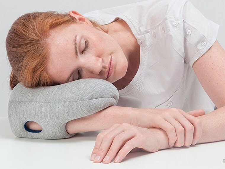 Areally strange pillow for napping at work