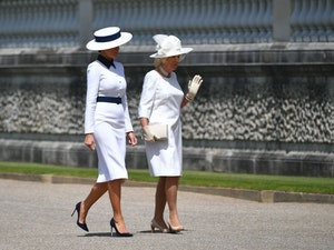Melania Trump Wears White Dress During UK Visit -- and You Won't Believe Who People Think She Looks Like